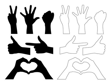 Hand silhouette · Hand sign signature set