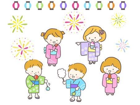 Children enjoying fireworks and fairs