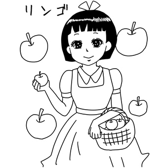 Apple girl coloring page