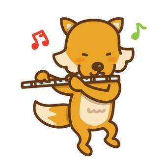 フルートを演奏するきつねさん