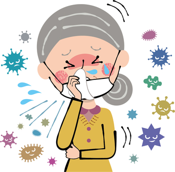 Cold flu jaw mask cough granny