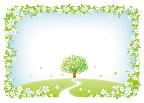 花咲く春の丘のフレーム