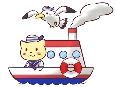 Cat, ship and seagull (no background)