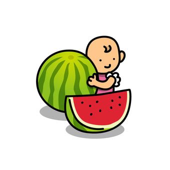 Baby and big watermelon