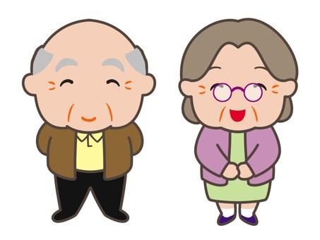 微笑的老夫婦
