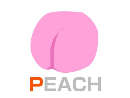 English word card P PEACH