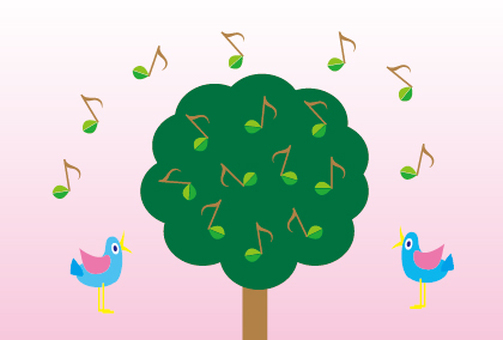 Spring birds singing message card