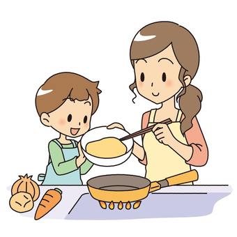 Cooking with parents and children