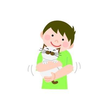 고양이를 안는 남자