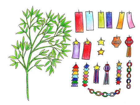 Tanabata decoration (colored pencil painting)