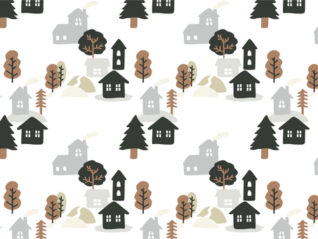冬の街パターン 森 白