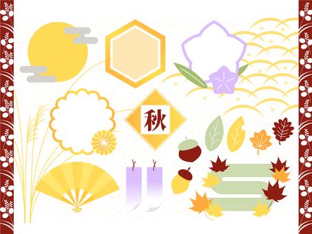 Autumn Japanese style frame and illustration set