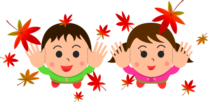 Autumn leaves and children