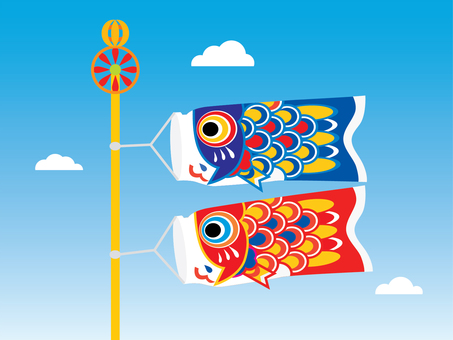 Two cute carp streamers swimming in the sky 02