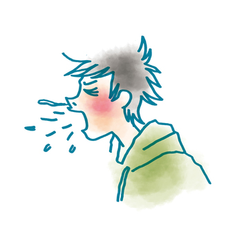 A cold male sneeze