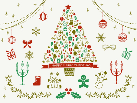 Christmas / hand-painted illustration set / tree