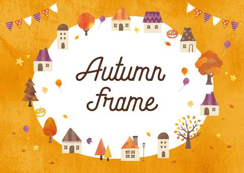 秋の街水彩フレーム