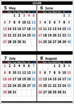 2018 calendar May - August