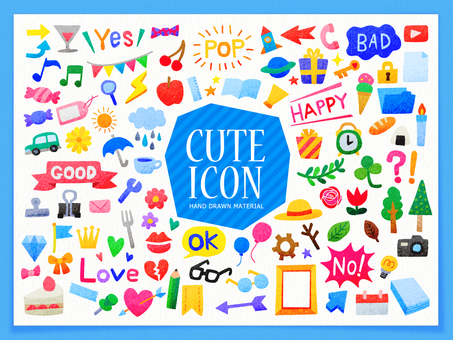 Colorful hand-drawn cute icon