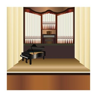 Pipe organ and grand piano on the stage