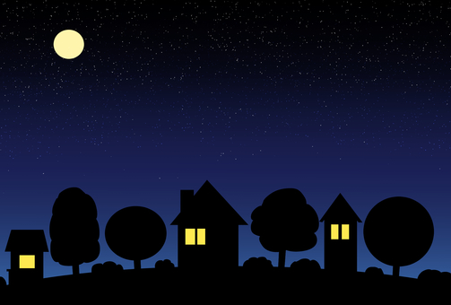 Idyllic houses (night view)