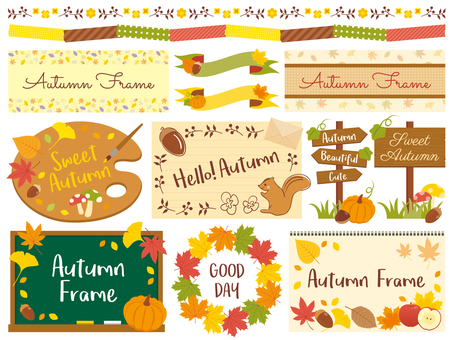 Various decorative sets in autumn