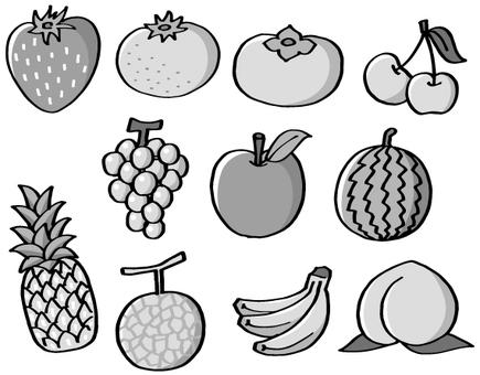 Assorted fruits (monochrome)