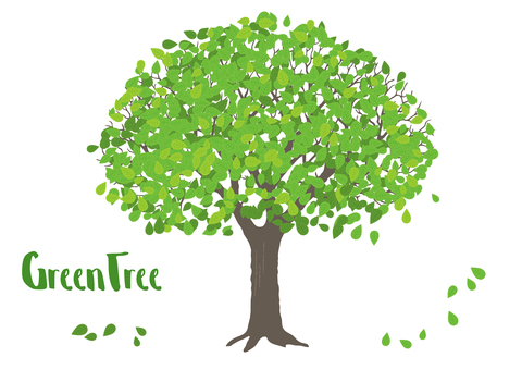 A piece of fresh green tree illustration