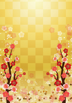 Checkered pattern and plum blossom background