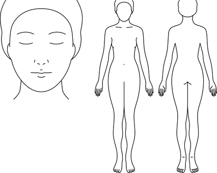 Female body drawing for medical records