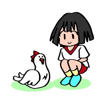 Chicken and girl