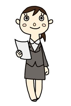 Female employees with documents - whole body