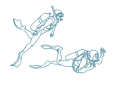 Diving line drawing