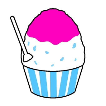 Illustration 05 of pink shaved ice to eat in summer