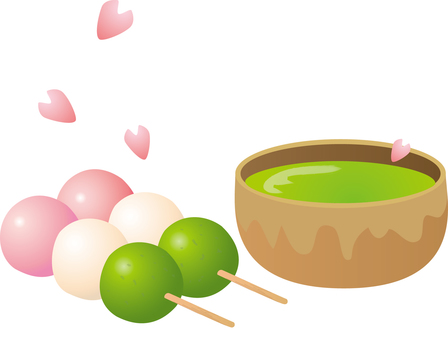 On cherry-blossom viewing: Three color dumplings and Matcha