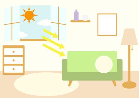 Light coming through the window ultraviolet rays sunlight