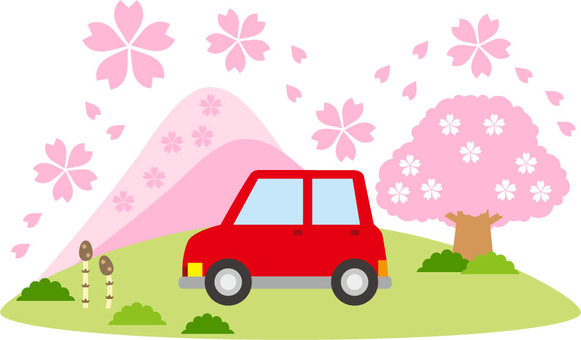 Mountain of spring and car