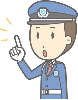 Security guard - finger-pointing diagonal left - bust