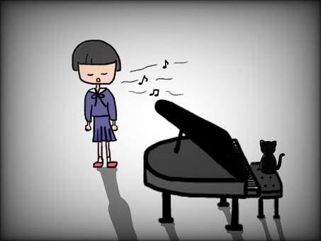 Music room girl piano cat