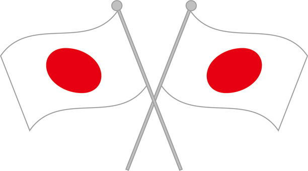 Two fluttering Japanese flags (Hinomaru) crossing