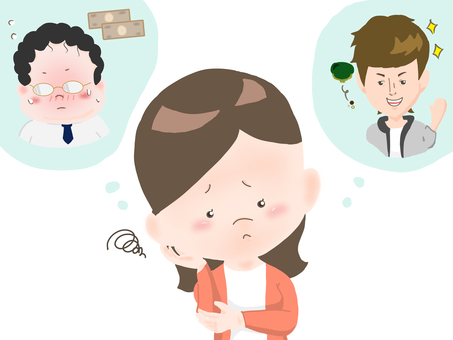 Illustration of marital women trouble