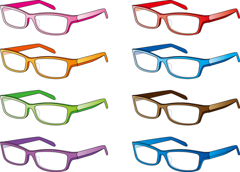 Glasses of each color, square