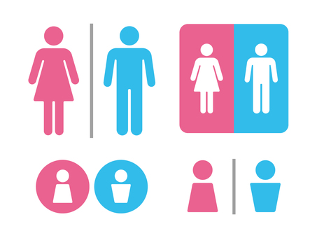 Set of toilet mark (pink / light blue)