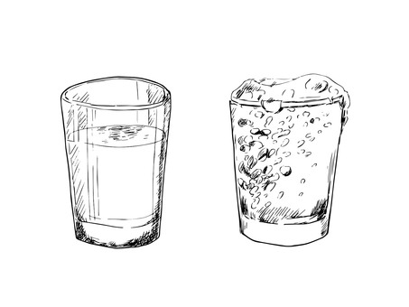 Cup line drawing with water