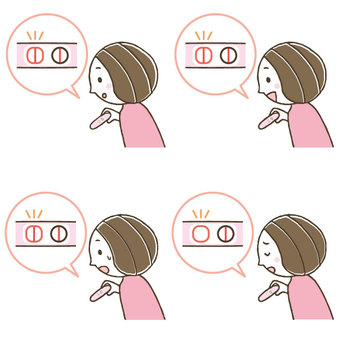 Cute woman using pregnancy test / negative positive