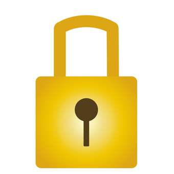Locked gold padlock