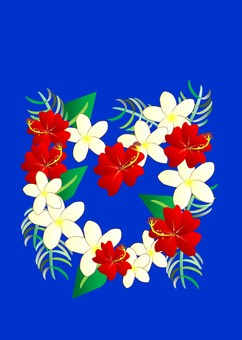 Hibiscus and Plumeria (Navy)