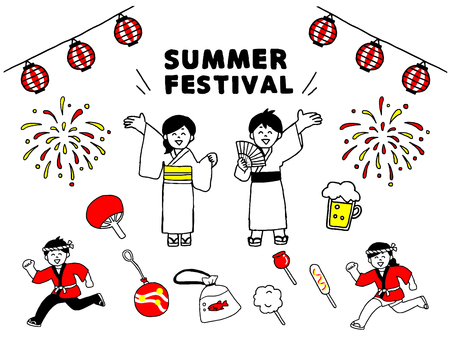 Yukata characters set for summer festival (simple)