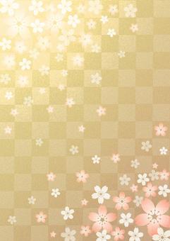 Sakura - gold leaf - grid background
