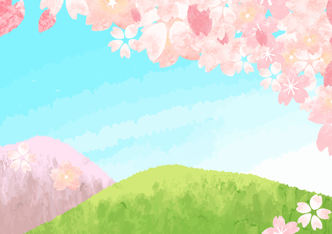 Blue sky and cherry blossoms and hills